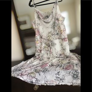 FLORAL-PRINT BLOUSON DRESS, NWOT